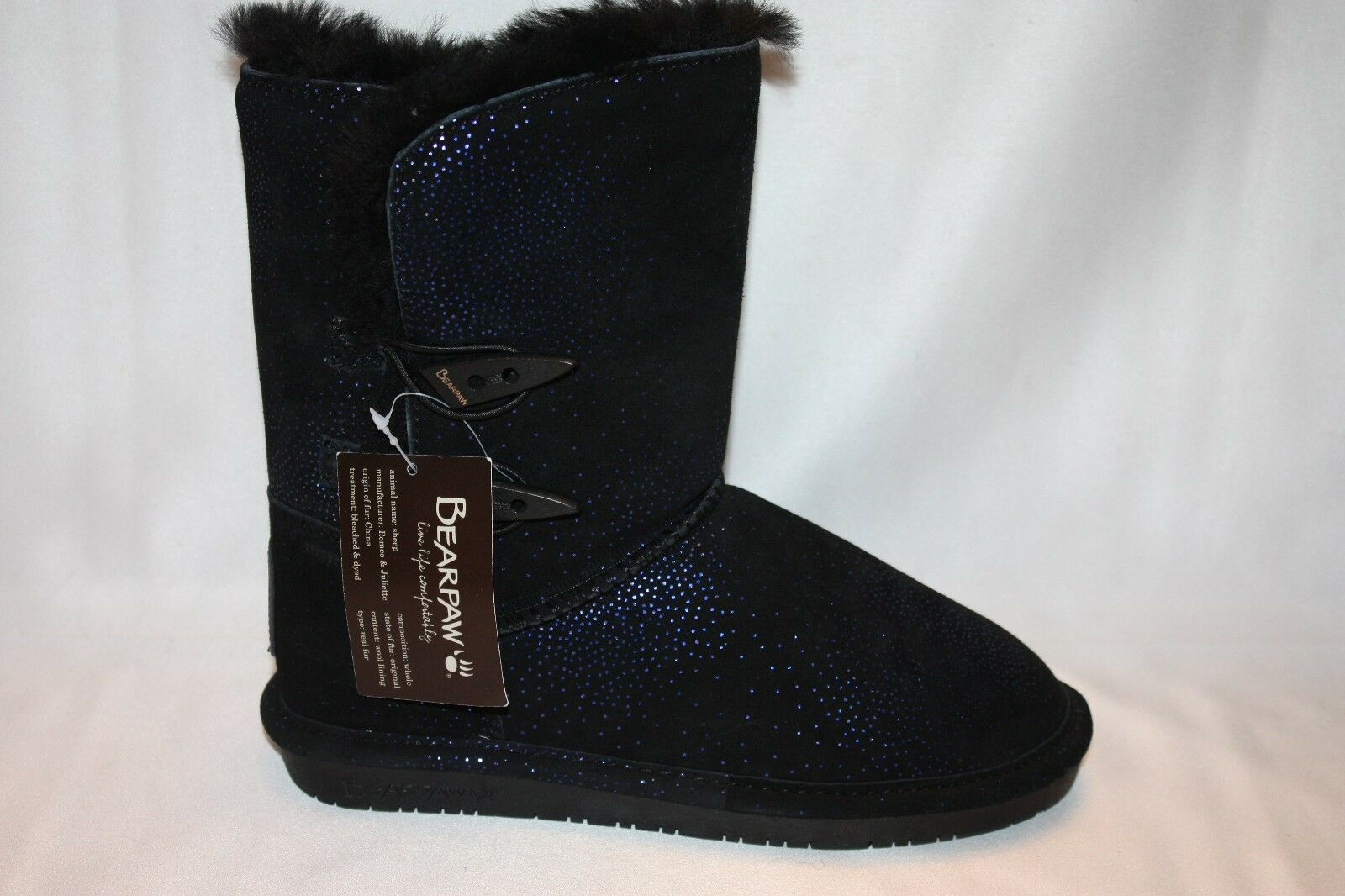 NEW NEW NEW BEARPAW Black Suede DIVA bluee Sparkle Sheepskin Shearling Short Boots Sz 5 7 7772a6