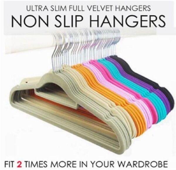 10 Velvet Non Slip Flocked Adult Coat Clothes Trouser Hanging Hangers With Bar