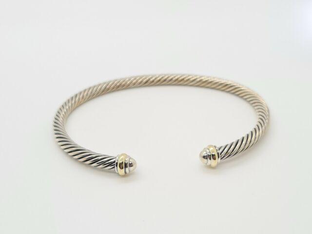 DAVID YURMAN Cable Classics Bracelet with 18K Gold 4mm $395 NEW