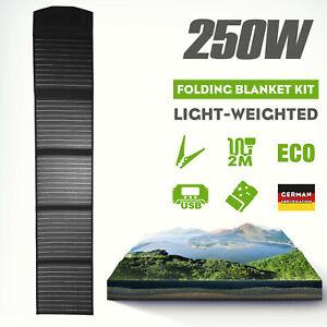 12V 250W Folding Solar Mat Black Silicon Blanket Solar Panel Kit Camping Charger
