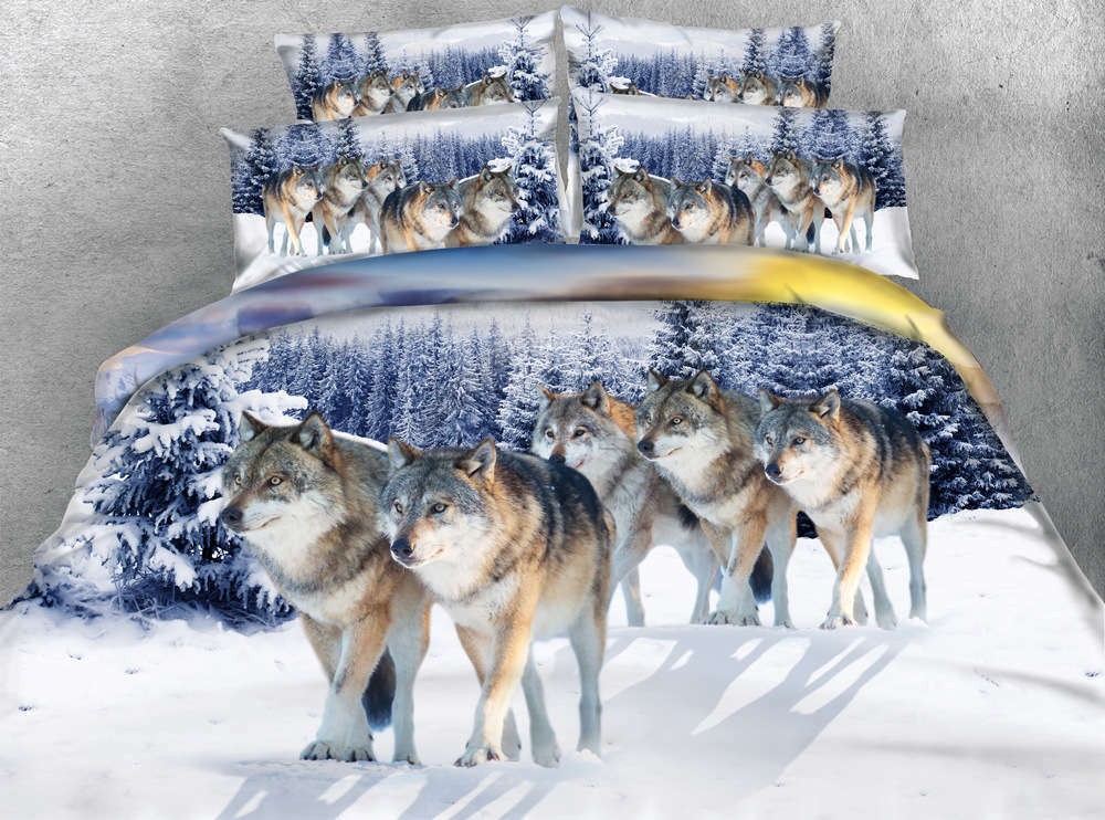 Snow Wolf Winter 3D Printing Duvet Quilt Doona Covers Pillow Case Bedding Sets