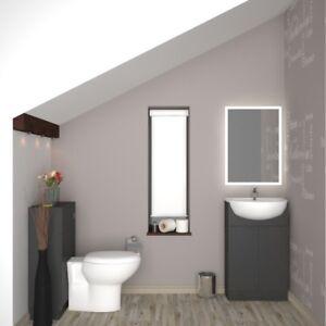 Bathroom Cloakroom 1000mm Yubo Vanity Basin Btw Grey Unit With