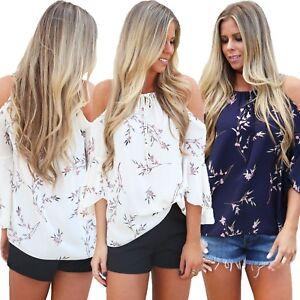 Damen-Shirt-T-Shirt-Top-offene-Shulter-Bluse-Tunika-Blusenshirt-Cut-out-Blumen