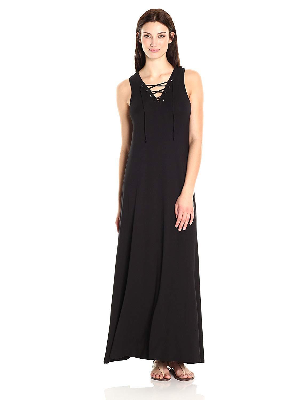 Karen Kane Woherren Lace-up Maxi Dress - Small (schwarz)
