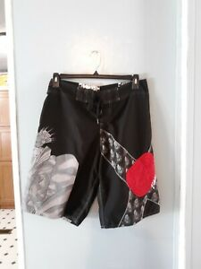 Billabong-board-shorts-men-039-s-32-black-with-red-and-silver-disigns
