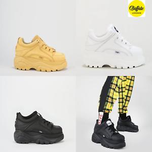 Buffalo-London-CLASSIC-PELLE-NABUK-BASSA-Bianche-Nere-Beige-Platform-Sneakers