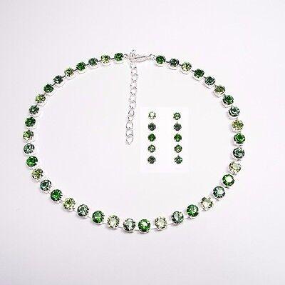 Damen Set Collier Ohrringe 925 Silber Versilbert Swarovski Kristalle Kette Grün