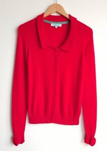 DICKINS-AND-JONES-LADIES-RED-WOOL-BLEND-BOW-CUFF-CARDIGAN-SIZE-S-UK-8