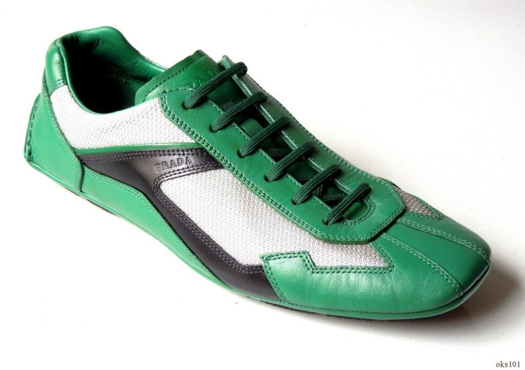 New mens  690 PRADA Monte Carlo green black silver leather LOGO sneakers 8 US 9