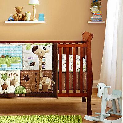 New Baby Boys 7 Pieces Cotton Nursery Bedding Cot Sets-Giraffe Animal Zoo x 2Set