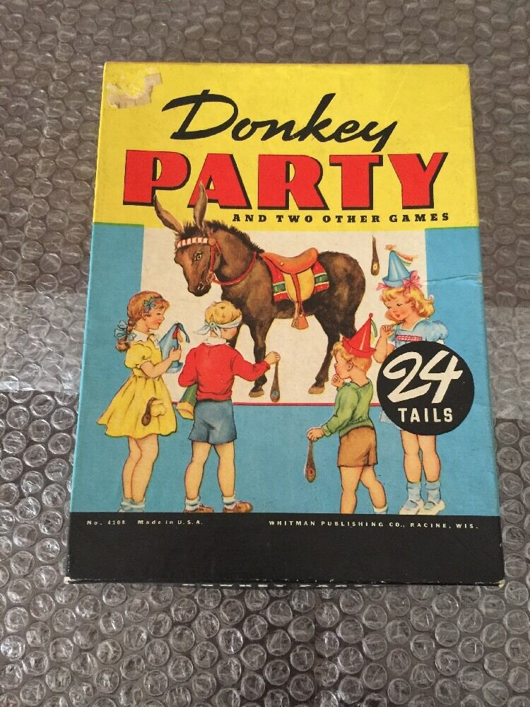 Vintage Pin the Tail on the Donkey Party Game  1950's Whitman