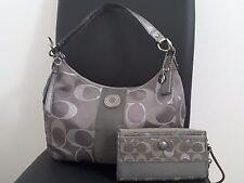 Coach Optic Metallic Signature Bag Gray/ Silver Metallic & Large Wallet/Wristlet