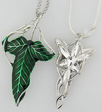 2pcs LOTR Lord Of The Rings Elven Leaf Brooch Wizard Crystal Pendant Necklace