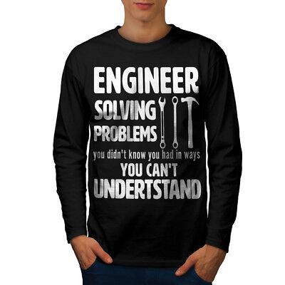 Wellcoda Engineer Solve Problem Mens Long Sleeve T-shirt Gag Graphic Design