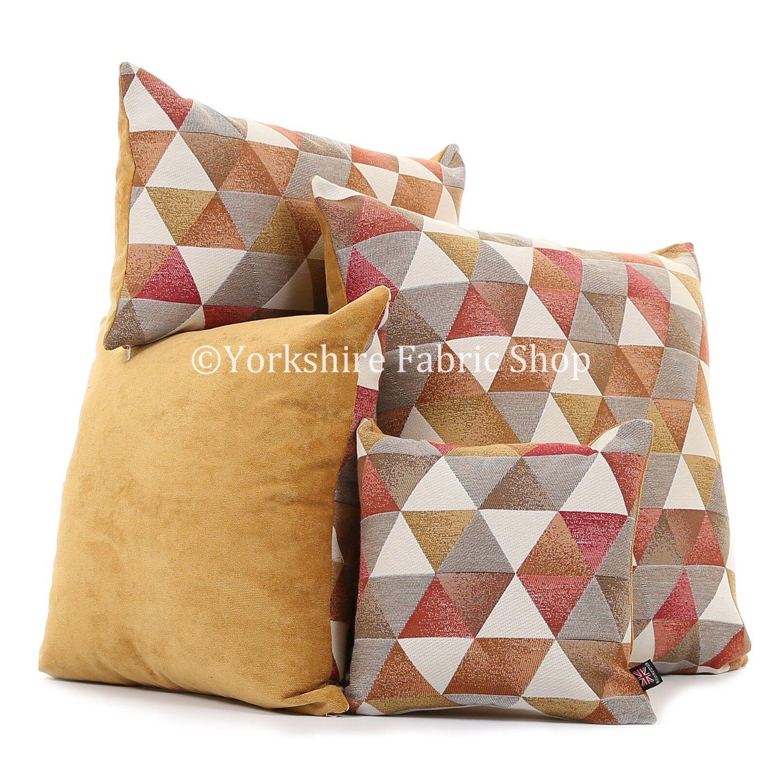 Morbido tessuto di ciniglia vivace oro Triangolo Rosso Bianco Stampa Geometrica Cuscini in tessuto