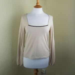 JOSEPH-BEIGE-SIMPLE-COTTON-JERSEY-TOP-WITH-RIBBON-AND-BEAD-TRIM-SIZE-3-VGC
