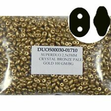 Bronze Pale Gold SuperDuo 2.5x5mm 2 Hole Beads Czech Glass Seed Beads 100gr
