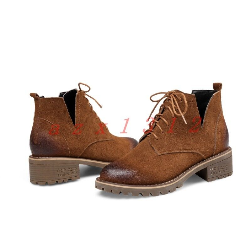 nuovo donna Pointy Toe Lace Up Low Cuban Heel Retro Oxfords Brogues High Top sautope