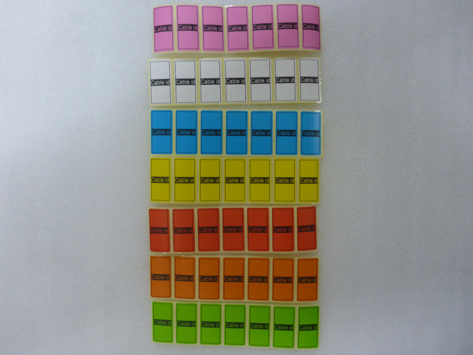 7 Colours = 49 Cable id Tidy Labels Self Adhesive Sticky Identification Stickers
