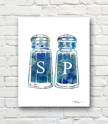 Salt and Pepper Shakers Abstract Watercolor Art Print