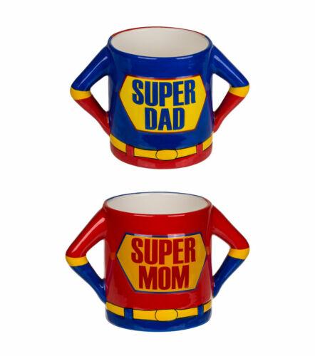 2 Becher Set Super Mom Super Dad 500 ml Kaffee Tassen Kaffeebecher Kaffeetasse