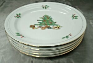 Tienshan-HOLIDAY-HOSTESS-Christmas-Tree-Set-of-4-10-5-8-034-Dinner-Plates-Disc-039-d