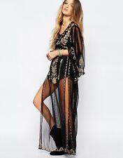 NWT $245 RALPH LAUREN DENIM SUPPLY Top Dress Tunic NEW Embroidered Sheer BLACK L
