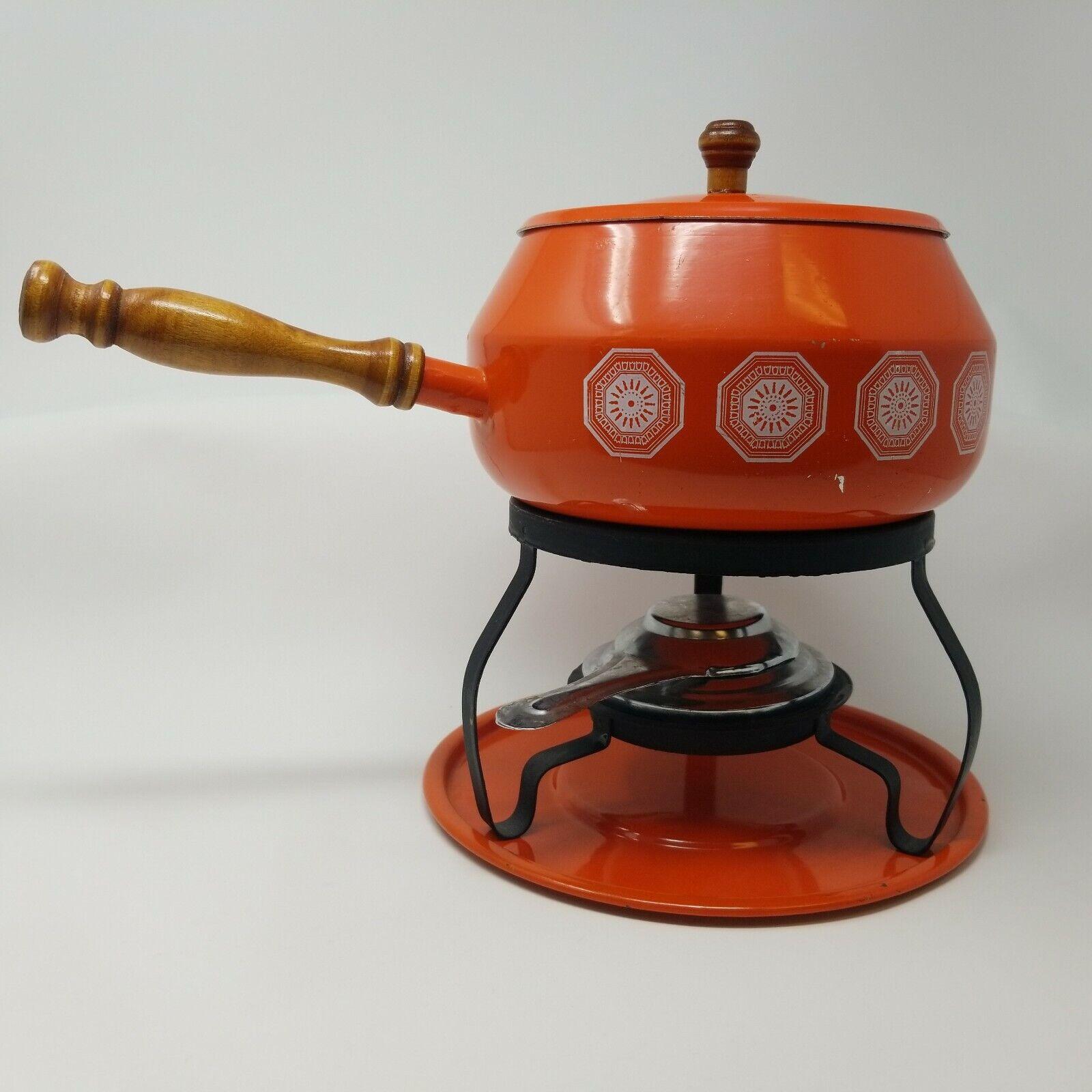 Vintage Danish Modern Mi Siècle le frougetement plat Food Warmer Fondue Orange