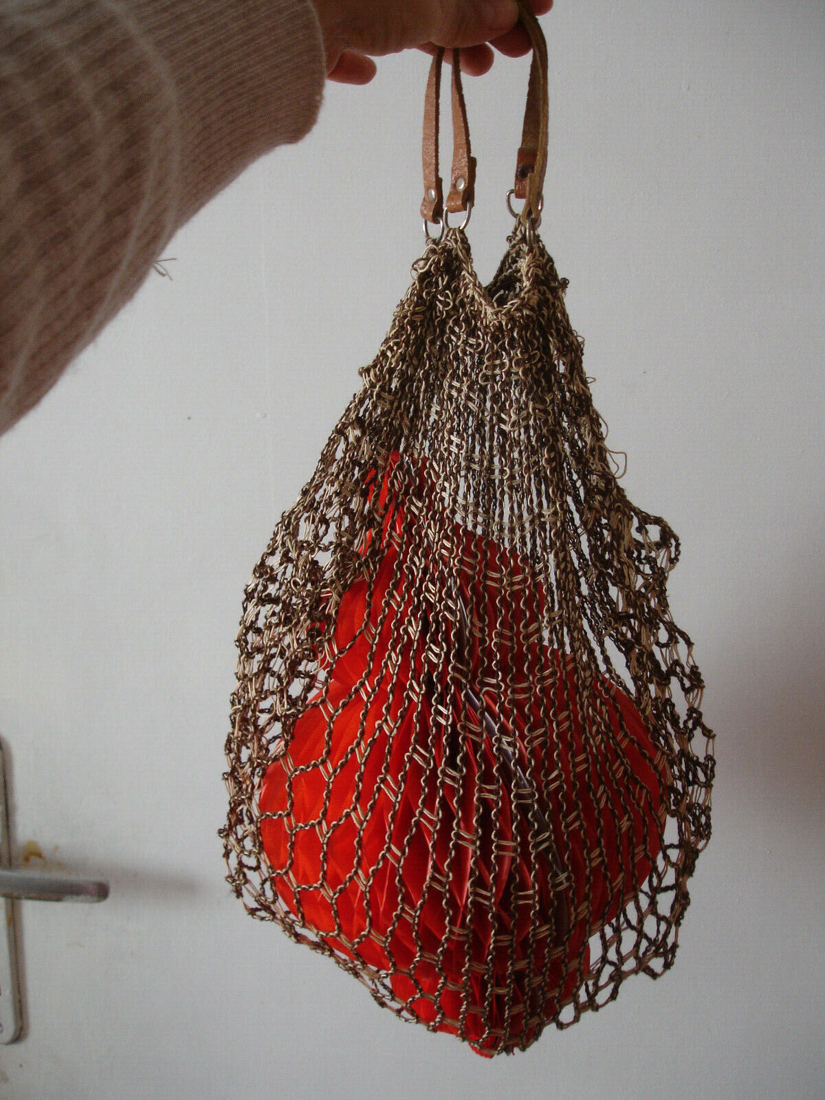 Farmers Fruits Vegetables Rustic Village Bag Crochet Eco Market Shopping Bag Organic Produce Soviet Bag USSR Vintage 60s White String Bag