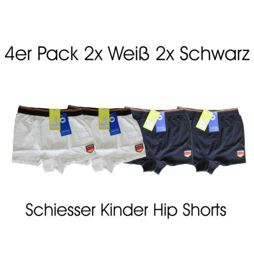 4er Pack Unterhose Unterwäsche Hip-Shorts für Jungen Schwarz /& Weiß Schiesser