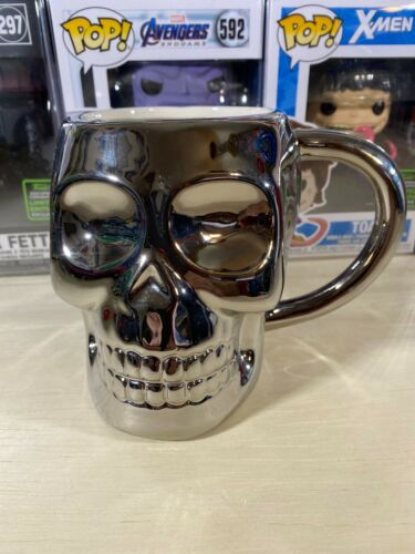 Boston Warehouse Chrome Skull Ceramic Coffee Mug