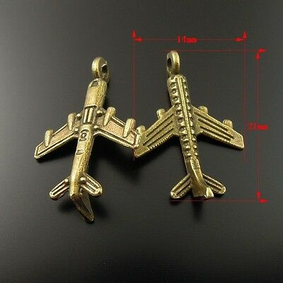 70X Vintage Bronze Tone Alloy Airplane Shape Charm Pendant Finding 21*14*2mm