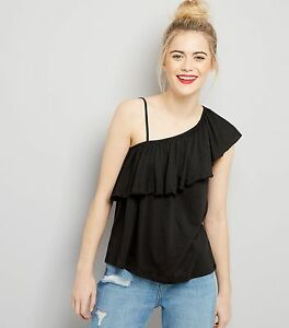 ec7a544367433c NEW LOOK - Womens Black Asymmetric Frill Trim One Shoulder Top. Size ...