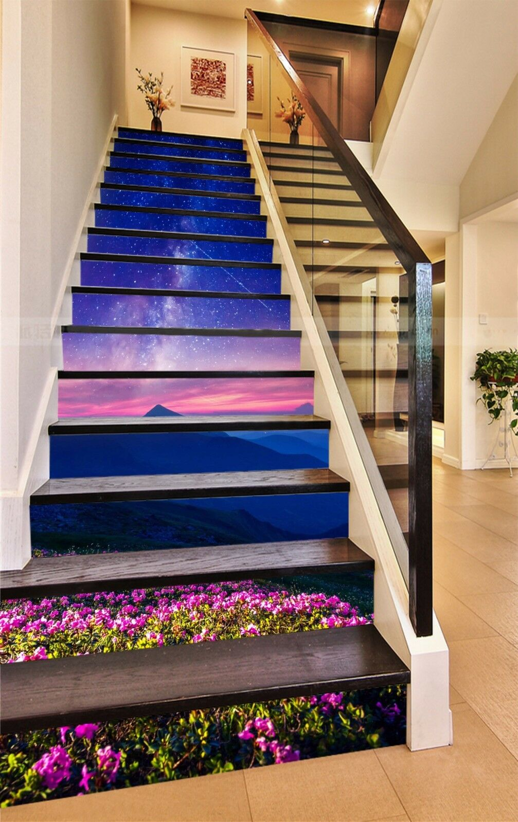3D Starry sky Hill 8Stair Risers Decoration Photo Mural Vinyl Decal Wallpaper AU