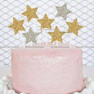 Image Is Loading 12 Gold Glitter Star Cupcake Toppers Birthday
