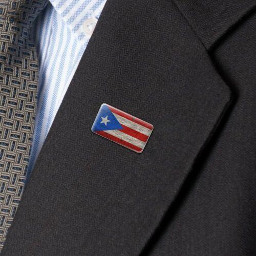 Rustique vieilli Puerto Rico Drapeau Rectangle Lapel Pin tie tack