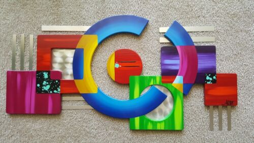 Colorful Contemporary Abstract Geometric wood and metal Wall Sculpture Art69