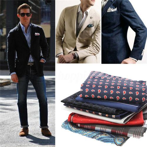 Men Silk Satin Pocket Square Hanker Chief Hanky Plain Wedding Party Suit