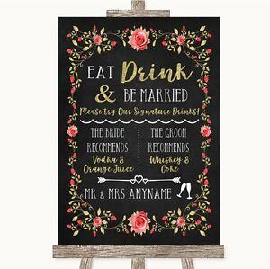 GESSO Stile Rosa Rose & Gold Signature bevande preferite segno di nozze  </span>