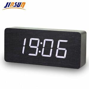 Horloges-Numeriques-Led-En-Bois-Moderne-Carre-Colore-Reveil-Temperature-Commande