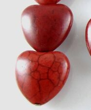 Gemstone Beads-DARK RED CANDY TURQUOISE PUFFED HEARTS 18mm (10)