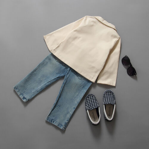 Baby Kids Boys Blazer Shirt Tops Denim Pants Gentleman 3Pcs Outfits Clothes Set