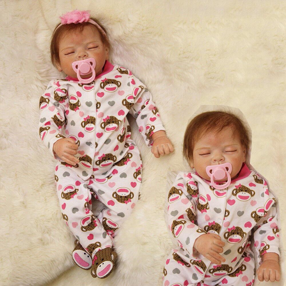 Realistische Reborn Puppen Baby lebensechte schlafen weichen Vinyl Silikon Dolls