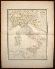 ITALIA, ITALIE GENERALE carte geographique ancienne par ANDRIVEAU GOUJON 1850