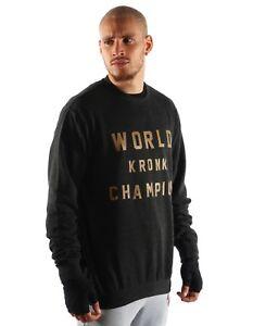 Felpa Champion uomo Detroit World stile da Gym retrò Gold Kronk Black rw64rq