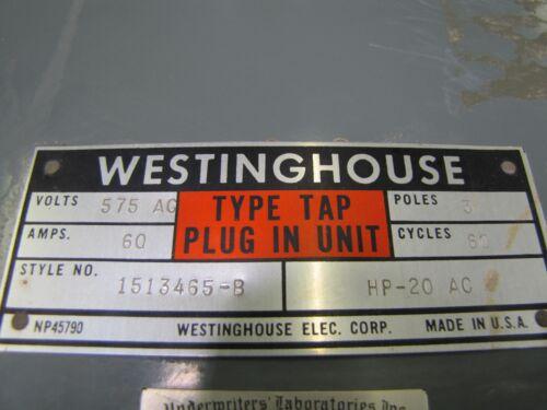 WESTINGHOUSE 1513465-B 60A 60 A AMP FUSIBLE BUSWAY SWITCH 575V 575 V VOLT 3P 3PH
