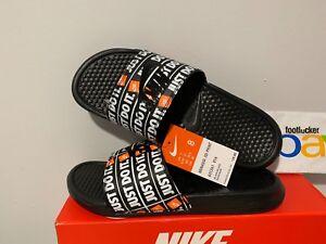7002add1f683 Nike Benassi JDI Just Do It Print Slides Black Orange Slide 631261 ...