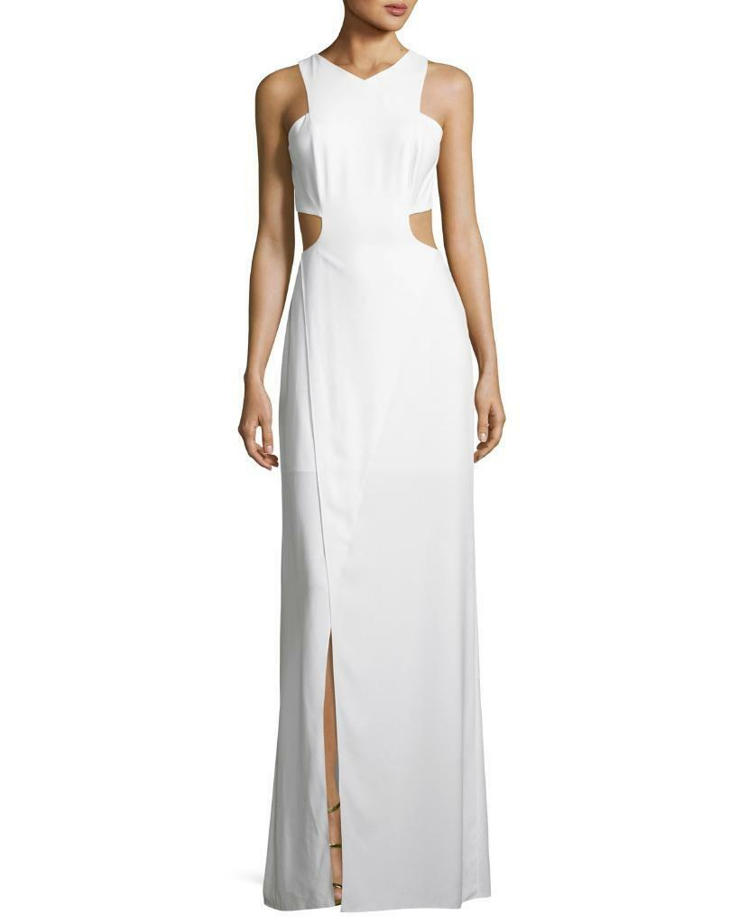 Halston HeritageSleeveless Cutout Stretch Crepe Column Gown-Size 0 (F)