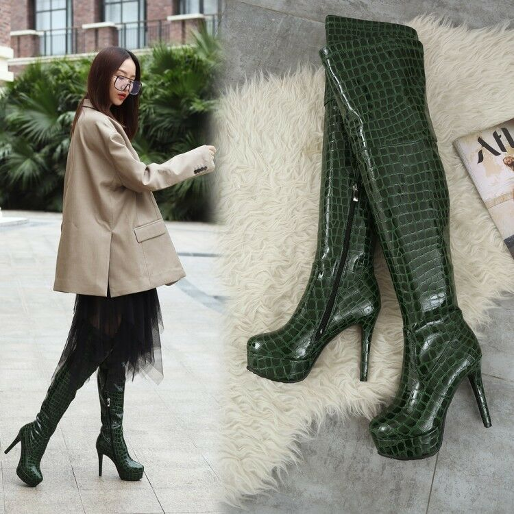 Womens 12cm High Heels Long Boots Stilettos Over The Knee Patent Leather D187