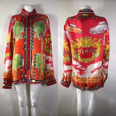 versace silk shirt red